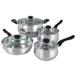 """Oster Rametto 8 Pc. SS Cookware Set - 3 quart Saucepan, 1.5 quart Dutch Oven, 5 quart Dutch Oven, Saute, 10"""" Diameter Frying Pan, Lid - Anodized Aluminum, Enameled Cast Iron, Teflon Interior, Stainless Steel Interior"""