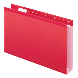 Oxford® Extra-Capacity Box-Bottom Hanging Folders, Legal Size, Red, Box Of 25