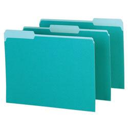 Pendaflex® Color Interior File Folders, 1/3 Cut, Letter Size, Aqua, Pack Of 100