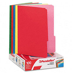 Pendaflex® Color Interior File Folders, 1/3 Cut, Letter Size, Assorted Colors #1, Pack Of 100