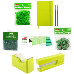 JAM Paper® Complete 9-Piece Desk Kit, Green