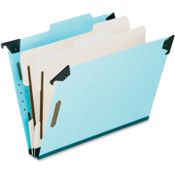 Pendaflex® Hanging Classification Folders, 2 Dividers, 6 Partitions, Legal Size, Blue