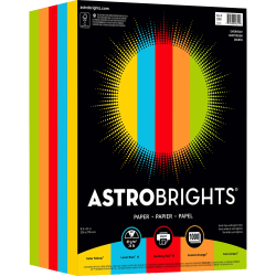 """Astrobrights® Everyday Smooth Color Paper, Letter Size (8 1/2"""" x 11""""), 24 Lb, Assorted Colors, Ream Of 250 Sheets"""