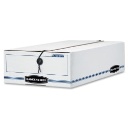 """Bankers Box® Liberty® Corrugated Storage Boxes, 4 1/4"""" x 9 1/4"""" x 15"""", 65% Recycled, White/Blue, Case Of 12"""