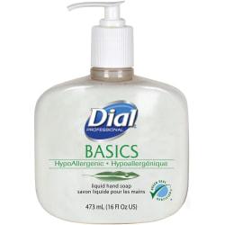Dial Basics HypoAllergenic Liquid Hand Soap - Fresh Floral Scent - 16 fl oz (473.2 mL) - Pump Bottle Dispenser - Kill Germs - Hand, Skin - White - 12 / Carton