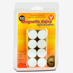 "Hygloss Self-Adhesive Magnetic Coins - 0.8"" Diameter - Adhesive - 100 / Pack"