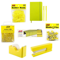 JAM Paper® Complete 9-Piece Desk Kit, Yellow