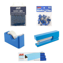 JAM Paper® 5-Piece Office Starter Kit, Blue