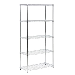 Honey-Can-Do Urban Steel Adjustable Industrial Shelving Unit, 5-Tier, Chrome