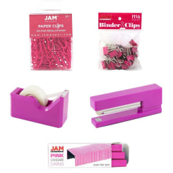 JAM Paper® 5-Piece Office Starter Kit, Pink