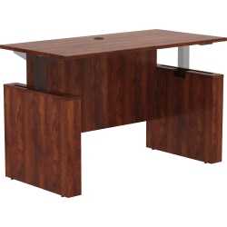 """Lorell Essentials 60"""" Sit-to-Stand Desk Shell - 0.1"""" Top, 1"""" Edge, 60"""" x 29"""" x 49"""" - Material: Polyvinyl Chloride (PVC) Edge - Finish: Laminate Top, Cherry"""