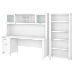 "Bush Furniture Somerset 72""W Office Desk With Hutch And 5-Shelf Bookcase, White, Standard Delivery"