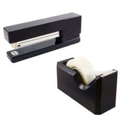 JAM Paper® 2-Piece Office And Desk Set, 1 Stapler & 1 Tape Dispenser, Black