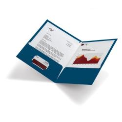 Office Depot® Laminated 2-Pocket Folders, Navy Blue, Pack Of 10