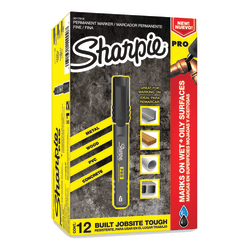 Sharpie® PRO Permanent Markers, Fine Point, Black/Gray Barrel, Black Ink, Pack Of 12 Markers