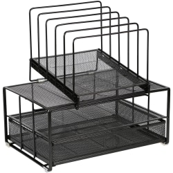 "Lorell Mesh Desktop Drawer Organizer - 7 Compartment(s) - 14"" Height x 9.4"" Width x 15"" Depth x 13.8"" Length - Desktop - Black - Mesh - 1 Each"