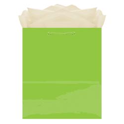 "Amscan Glossy Medium Gift Bags, 9-1/2""H x 7-3/4""W x 4-1/2""D, Kiwi Green, Pack Of 10 Bags"