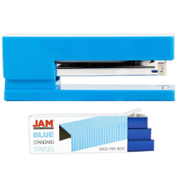 JAM Paper® 2-Piece Office Stapler Set, 1 Stapler & 1 Pack of Staples, Blue
