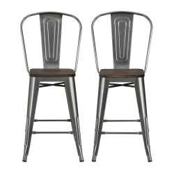DHP Luxor Metal Counter Stool, Charcoal, Set Of 2