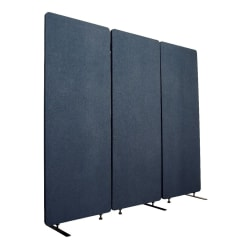 "Luxor RECLAIM Acoustic Privacy Panel Room Dividers, 66""H x 24""W, Starlight Blue, Pack Of 3 Room Dividers"