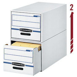 """Bankers Box® Stor/Drawer® File, 10-3/8"""" x 12-1/2"""" x 23-1/4"""", Letter Size, 60% Recycled, Blue/White"""