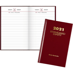 """At-A-Glance Standard Diary Daily Reminder - Business - Julian Dates - Daily - 1 Year - January 2021 till December 2021 - 1 Day Single Page Layout - 4 3/16"""" x 6 1/2"""" White Sheet - Book Bound - Red - Vinyl - Red"""