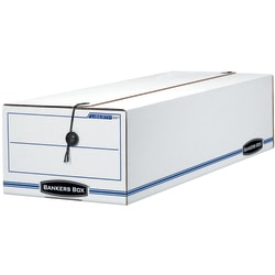 "Bankers Box® Liberty® Standard-Duty Storage Box With String & Button Closure, 23 1/4"" x 9 1/2"" x 6"", 60% Recycled, White/Blue"