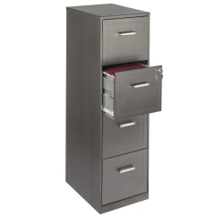 "Realspace® 18""D Vertical 4-Drawer File Cabinet, Metal, Metallic Charcoal"