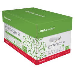 "Office Depot® EnviroCopy® Paper, Letter Size (8 1/2"" x 11""), 20 Lb, 30% Recycled, FSC® Certified, Ream Of 500 Sheets, Case Of 10 Reams"
