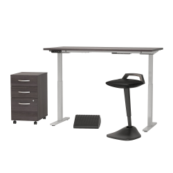 """Bush Business Furniture Move 60 Series 60""""W x 30""""D Adjustable Standing Desk With Lean Stool, Storage And Ergonomic Accessories, Storm Gray, Premium Installation"""