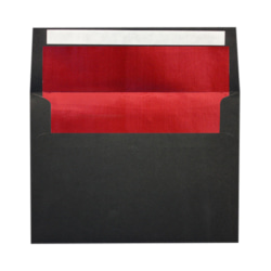 """LUX Foil-Lined Invitation Envelopes With Peel & Press Closure, A4, 4 1/4"""" x 6 1/4"""", Black/Red, Pack Of 250"""