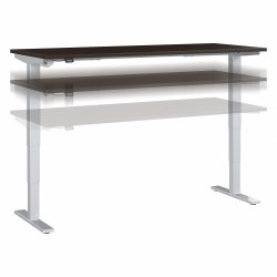 """Move 40 Series by Bush Business Furniture Height-Adjustable Standing Desk, 72"""" x 30"""", Mocha Cherry/Cool Gray Metallic, Standard Delivery"""