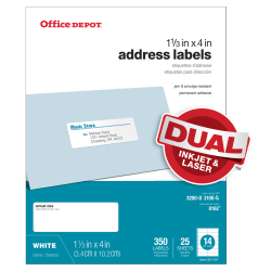 "Office Depot® Brand White Inkjet/Laser Address Labels, 505-O004-0018, 1 1/3"" x 4"", Pack Of 350"