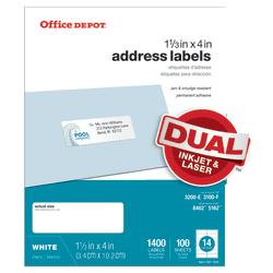 "Office Depot® Brand White Inkjet/Laser Address Labels, 505-O004-0019, 1 1/3"" x 4"", Pack Of 1,400"