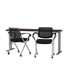 """Bush Business Furniture 400 Series 72"""" X 24"""" Training Table With 2 Mesh-Back Folding Chairs, Mocha Cherry, Premium Delivery"""