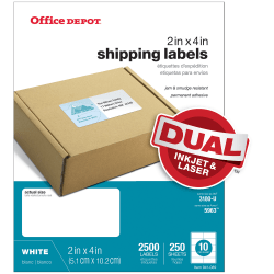"Office Depot® Brand White Laser Shipping Labels, 505-O004-0020, 2"" x 4"", Pack Of 2500"