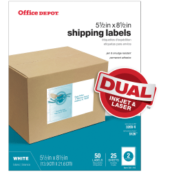 "Office Depot® Brand Inkjet/Laser Shipping Labels, White, 5 1/2"" x 8 1/2"", Pack Of 50"