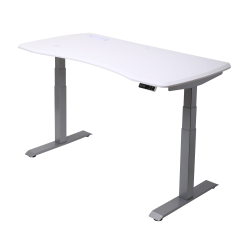 "WorkPro® 60""W Electric Height-Adjustable Standing Desk with Wireless Charging, White"
