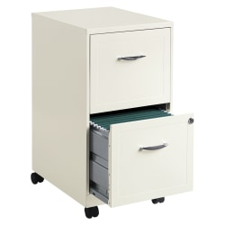 "Realspace® 18""D Vertical 2-Drawer Mobile File Cabinet, Metal, Pearl White"
