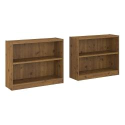 """Bush Furniture Universal 30""""H 2-Shelf Bookcases, Vintage Golden Pine, Set Of 2 Bookcases, Standard Delivery"""