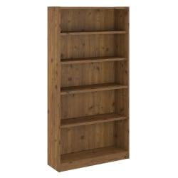 Bush Furniture Universal 5 Shelf Bookcase, Vintage Golden Pine, Standard Delivery