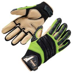 Ergodyne ProFlex 924LTR Leather-Reinforced Hybrid Dorsal Impact-Reducing Gloves, XXL, Lime