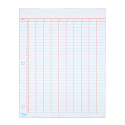 TOPS® Data Pad, 9 Column & Summary, 3-Hole Punched, 25 Sheets, White