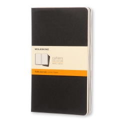 """Moleskine Cahier Journals, 5"""" x 8-1/4"""", Faint Ruled, 80 Pages (40 Sheets), Black, Set Of 3 Journals"""