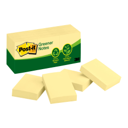 """Post it® Greener Notes, 100% Recycled, 1 1/2"""" x 2"""", Canary Yellow, Pack Of 12 Pads"""