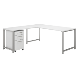 """Bush Business Furniture 400 Series 72""""W L Shaped Desk with 48""""W Return and 3 Drawer Mobile File Cabinet, White, Standard Delivery"""