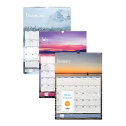 "Blue Sky™ Wire-Bound Monthly Wall Calendar, 12"" x 17"", Scenes, January To December 2021, 117917"