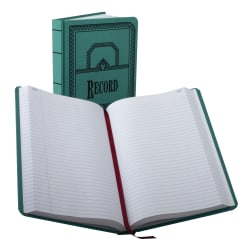 """Boorum & Pease® Canvas Account Book, Record, 16 Lb., 12 1/8"""" x 7 5/8"""", 500 Pages, Blue"""