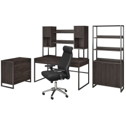 """kathy ireland® Office by Bush Business Furniture Atria 60""""W Desk With Hutch, File Cabinet, Bookcase And High-Back Office Chair, Charcoal Gray, Premium Installation"""