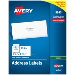 "Avery® Copier Permanent Address Labels, 5360, 1 1/2"" x 2 13/16"", White, Pack Of 2,100"